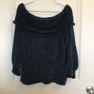 Dark green off the shoulder velvet sweater